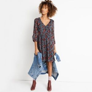 NWT Madewell MoonBlossom Ruffle Sleeve Dress
